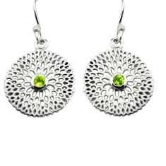 0.97cts natural green peridot 925 sterling silver dangle earrings jewelry p84028