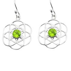 1.97cts natural green peridot 925 sterling silver dangle earrings jewelry p84126