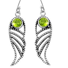 1.94cts natural green peridot 925 sterling silver dangle earrings jewelry p91406