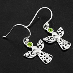 0.81cts natural green peridot 925 sterling silver dangle owl earrings p84239