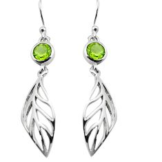 1.96cts natural green peridot 925 sterling silver deltoid leaf earrings p84151
