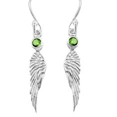 0.74cts natural green peridot 925 sterling silver feather charm earrings p82397