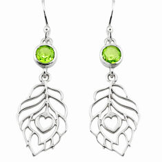 1.74cts natural green peridot 925 sterling silver feather earrings p73509