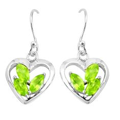 3.42cts natural green peridot 925 sterling silver heart love earrings p36771