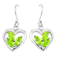 4.08cts natural green peridot 925 sterling silver heart love earrings p36773