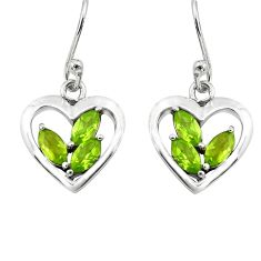 5.87cts natural green peridot 925 sterling silver heart love earrings p82362