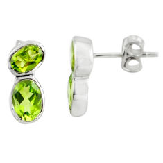 5.92cts natural green peridot 925 sterling silver stud earrings jewelry p73582