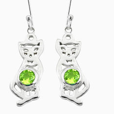 2.36cts natural green peridot 925 sterling silver two cats earrings p60749