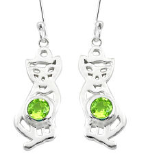 2.36cts natural green peridot 925 sterling silver two cats earrings p60842