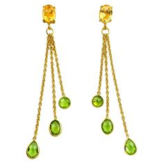 10.48cts natural green peridot citrine 925 silver chandelier earrings p87459