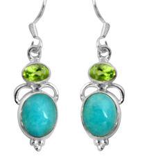 8.69cts natural green peruvian amazonite 925 silver dangle earrings d32477