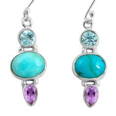 9.61cts natural green peruvian amazonite 925 silver dangle earrings d32493