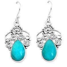 5.63cts natural green peruvian amazonite 925 silver dangle earrings p52290