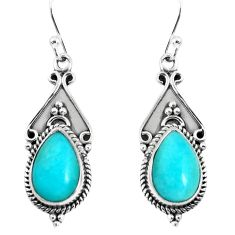 6.36cts natural green peruvian amazonite 925 silver dangle earrings p52773
