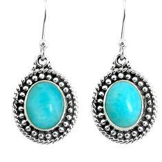 8.42cts natural green peruvian amazonite 925 silver dangle earrings p52828