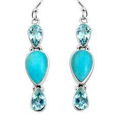 14.26cts natural green peruvian amazonite 925 silver dangle earrings p57411