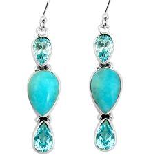 14.23cts natural green peruvian amazonite 925 silver dangle earrings p57412