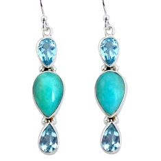 14.23cts natural green peruvian amazonite 925 silver dangle earrings p57413