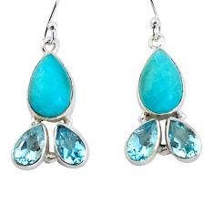 13.77cts natural green peruvian amazonite 925 silver dangle earrings p57416
