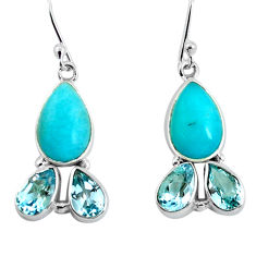 14.23cts natural green peruvian amazonite 925 silver dangle earrings p57418