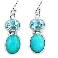 10.76cts natural green peruvian amazonite 925 silver dangle earrings p57541