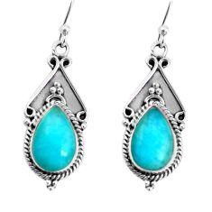 9.11cts natural green peruvian amazonite 925 silver dangle earrings p58191