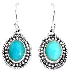 8.75cts natural green peruvian amazonite 925 silver dangle earrings p58212