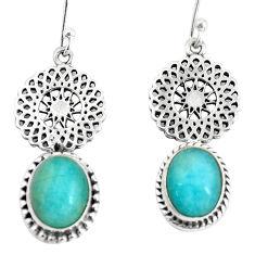 8.77cts natural green peruvian amazonite 925 silver dangle earrings p60827