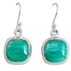 9.86cts natural green peruvian amazonite 925 silver dangle earrings p89345