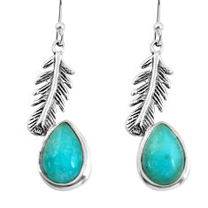 9.09cts natural green peruvian amazonite 925 silver feather earrings p60818
