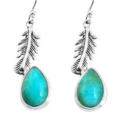9.10cts natural green peruvian amazonite 925 silver feather earrings p60819