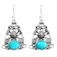 8.27cts natural green peruvian amazonite 925 silver flower earrings p58377