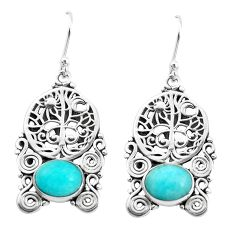 8.70cts natural green peruvian amazonite 925 silver tree of life earrings p52250