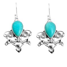 6.84cts natural green peruvian amazonite 925 sterling silver owl earrings p52065