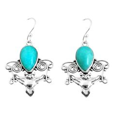 7.66cts natural green peruvian amazonite 925 sterling silver owl earrings p52066