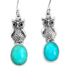 8.44cts natural green peruvian amazonite 925 sterling silver owl earrings p54968