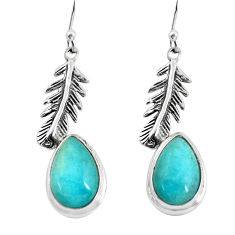 9.03cts natural green peruvian amazonite silver feather charm earrings p55491