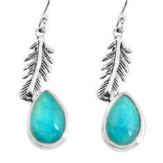 8.54cts natural green peruvian amazonite silver feather charm earrings p55492