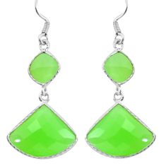 16.86cts natural green prehnite 925 sterling silver dangle earrings d31541