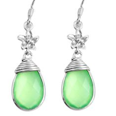 13.67cts natural green prehnite 925 sterling silver dangle earrings d31619