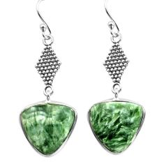 12.58cts natural green seraphinite (russian) 925 silver dangle earrings p72555
