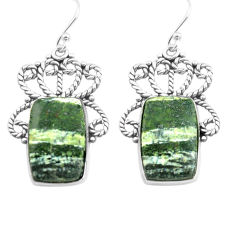 20.33cts natural green seraphinite (russian) 925 silver dangle earrings p72701