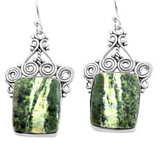 22.22cts natural green seraphinite (russian) 925 silver dangle earrings p72702