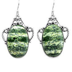 19.82cts natural green seraphinite (russian) 925 silver dangle earrings p72703