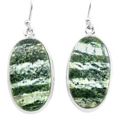 24.38cts natural green seraphinite (russian) 925 silver dangle earrings p72767