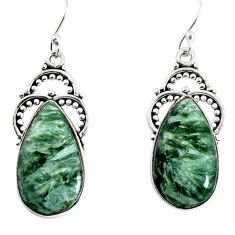 16.06cts natural green seraphinite (russian) 925 silver dangle earrings p91906