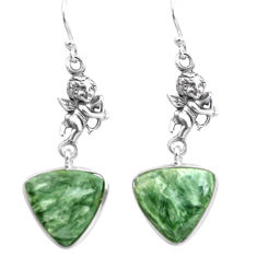 12.58cts natural green seraphinite 925 silver cupid angel wings earrings p72551