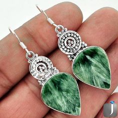 21.18cts NATURAL GREEN SERAPHINITE 925 STERLING SILVER DANGLE EARRINGS F10584