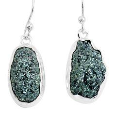 16.06cts natural green seraphinite in quartz 925 silver dangle earrings p50387