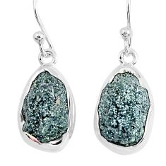 14.14cts natural green seraphinite in quartz 925 silver dangle earrings p50389